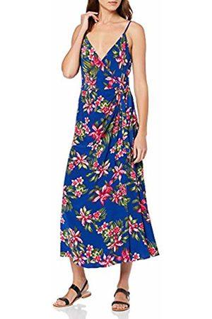 Tommy Hilfiger Women's Hallie Wrap Slip Dress Ns (Tropical Mid 7 Col/Surf The Web 409)