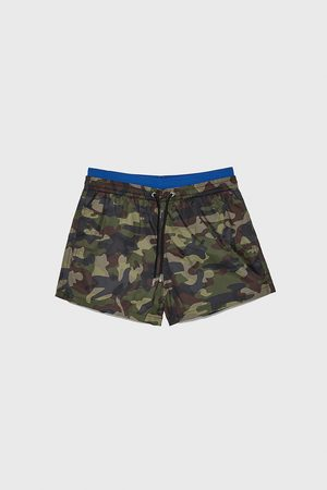 Zara Camouflage swimming trunks with contrast waistband