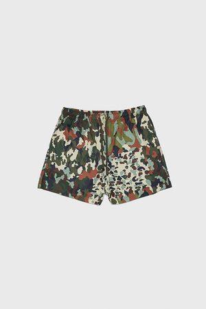 Zara Camouflage patchwork swimming trunks