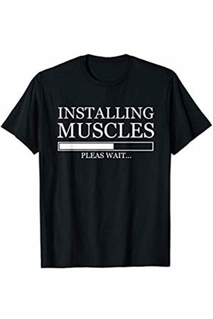 summer T-shirts 2019 Installing Muscles Please Wait Fun Gym Workout Fitness Shirt T-Shirt
