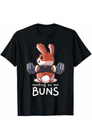 Flexin Workout Outfits Co. Working On My Buns Weightlifting Fitness Workout Gym Gift T-Shirt