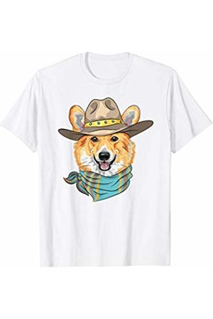 Cute Corgi Gifts Short Sleeve - Cute Corgi Dog Wearing Western Cowboy Hat T-Shirt