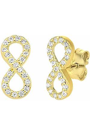 Citerna Women Earrings - 9 ct Gold infinity Earrings with Cz Stones