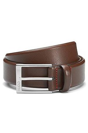 HUGO BOSS Embossed leather belt with polished silver-effect hardware