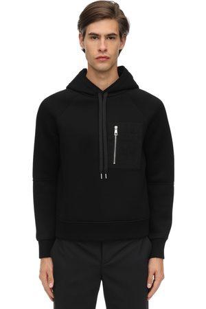 Neil Barrett Viscose Hoodie W/ Faux Leather Pocket