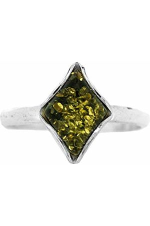 Nova Silver Classic Amber Diamond Shape Green Amber Ring In Size N