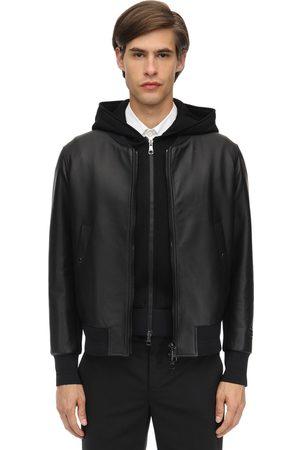 Neil Barrett Hooded Leather Bomber Jacket
