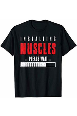 """Funny gym shirts for motivation Funny gym shirts """"installing muscles please wait"""" T-Shirt"""