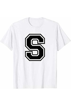Capital Letter Sport Alphabet Letter S Black Capital Name Initial School Sport Team T-Shirt