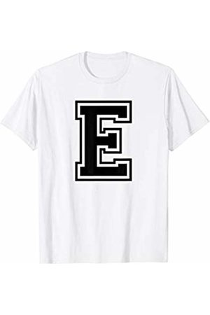 Capital Letter Sport Alphabet Letter E Black Capital Name Initial School Sport Team T-Shirt