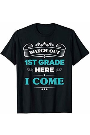 VI59 Family Shirts Watch Out 1st Grade Here I Come First Day School Cute Tee