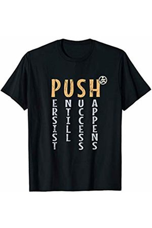 SkizzenMonster Running Fitness Gifts PUSH | Keep On Running Runner Motivational Saying T-Shirt