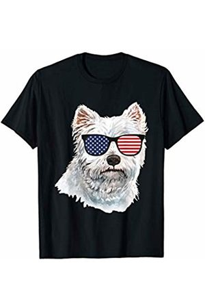 A&K White Terrier Patriotic Shirts White Terrier with American Flag Sunglasses Dog Lover Gift T-Shirt