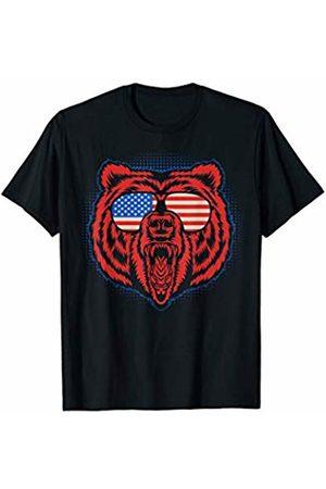 Animal America Flag Shirts USA Patriotic Bear America Sunglasses T-Shirt