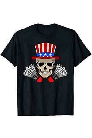 America Sports Gift Shirts Skull Badminton Sports Uncle Sam 4th Of July T-shirt