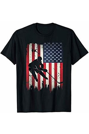 Patriotic Funny Novelty Co. Ice Hockey USA American Flag 4th of July Patriotic Sports T-Shirt