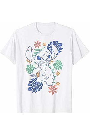 Disney Lilo & Stitch Hawaiian Plants Stitch Outline Sketch T-Shirt