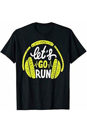 BullQuack Runner Lets Go Run - Runner Running Quote Saying - Headphone T-Shirt