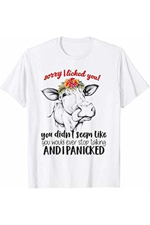 Cute Heifer Farm Girl Tees Co. Sorry I Licked You Ever Stop Talking I Panicked Cow Humor T-Shirt