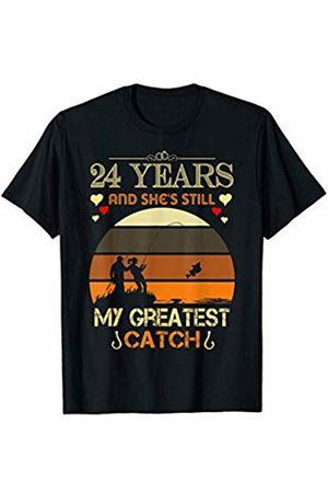 Medotukito 24th Wedding Anniversary Gift Love Fishing Couples Shirt