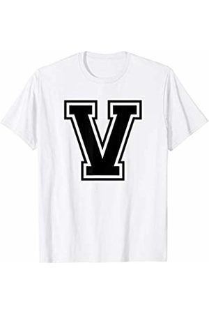 Capital Letter Sport Alphabet Letter V Black Capital Name Initial School Sport Team T-Shirt