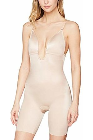 Spanx Women's Syf Plunge Low-Back Mid-Thigh Champagne Bodysuit, (Champagne 000)