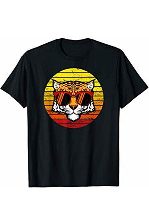 Animals Clothing Co. Retro Sunset Illustration with a Cool Tiger Wearing Glasses T-Shirt