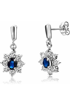 7fe7f9134 Miore Sapphire Earrings, 9ct White Gold, Diamond and Sapphire Drops, 3/4.  Amazon