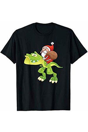 PeeKay Shirt Apparel - Christmas Santa Claus Riding T Rex Dinosaur Christmas Pajamas T-Shirt