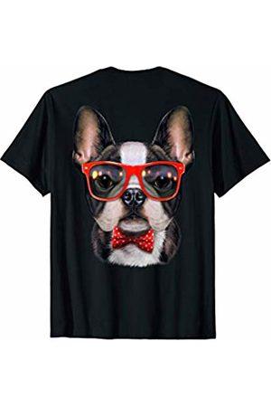 Fox Republic T-Shirts Cute French Bulldog in Red Retro Sunglass and Bow Tie T-Shirt