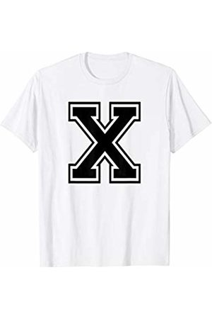 Capital Letter Sport Alphabet Letter X Black Capital Name Initial School Sport Team T-Shirt