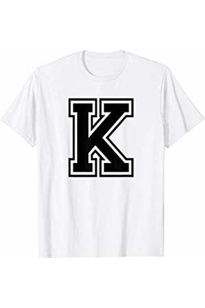 Capital Letter Sport Alphabet Letter K Black Capital Name Initial School Sport Team T-Shirt