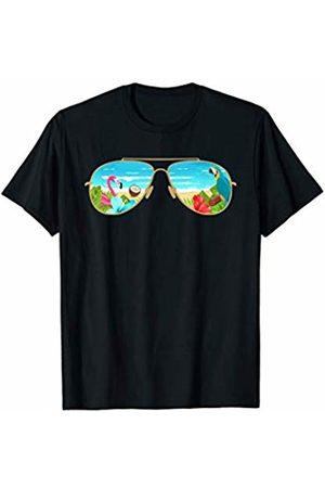 Flamingo Sun Beach Ocean Summer Vibes Holiday Tees Summer Vacation Sunglasses Flamingo Beach Ocean Trees T-Shirt