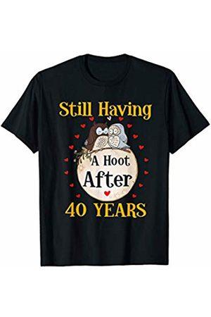 Medotukito 40th Wedding Anniversary Gift Love Owls Couples Shirt