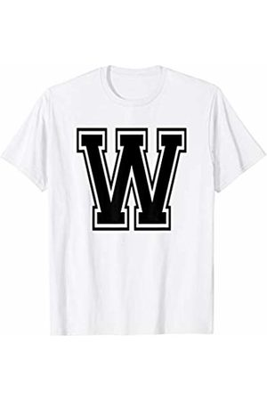 Capital Letter Sport Alphabet Letter W Black Capital Name Initial School Sport Team T-Shirt