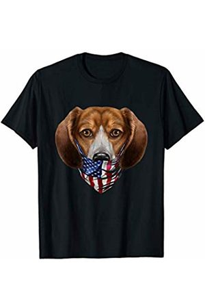 Fox Republic T-Shirts Beagle Dog in Flag of USA Bandana T-Shirt