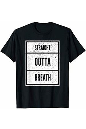 Funny Bestseller Tees Straight Outta Breath Humorous Fitness T-Shirt