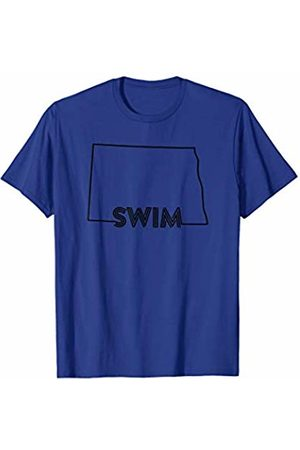 Wesean Swim State of North Dakota Outline with Swim Text ABN578a T-Shirt