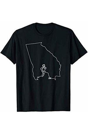 Wesean Runner State of Georgia Outline with Runner ABN354b T-Shirt