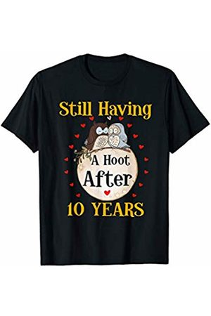 Medotukito 10th Wedding Anniversary Gift Love Owls Couples Shirt