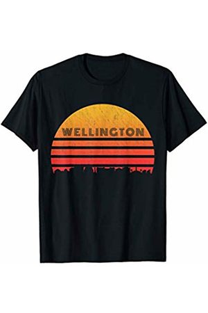 Classic Vintage Retro T-Shirts Vintage Retro Sunset Wellington New Zealand Skyline T-Shirt