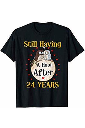 Medotukito 24th Wedding Anniversary Gift Love Owls Couples Shirt