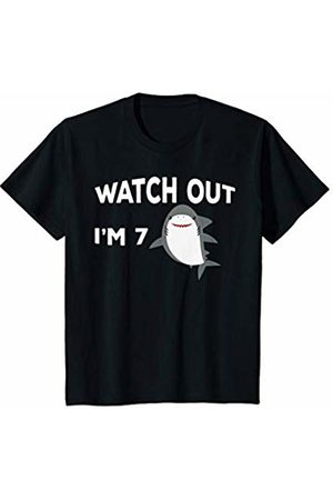 Shark Birthday Gifts and Shirts Youth 7th Birthday Shark Watch Out I'm 7 Popular Kids Gift T-Shirt