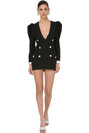Alessandra Rich Puff Shoulder Cool Wool Jacket Dress