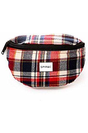 Spiral Burgundy-Navy Plaid Bum Bag Sport Waist Pack, 23 cm