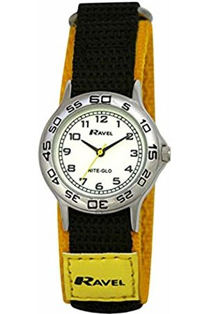 Ravel Children's Glow in The Dark Yellow and Black Nylon Strap Watch