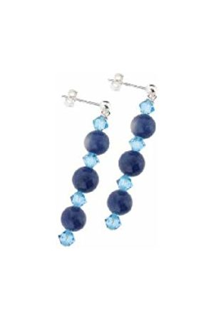 Earth Sodalite and Swarovski Crystal Beaded Earrings at 4cm in Length