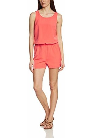 Vila Women's Visupreame S/l Playsuit Dungarees, (Hot Coral)