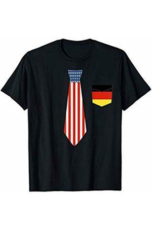 I Love Germany ASL T-Shirt Tie USA Flag and Pocket Germany Flag