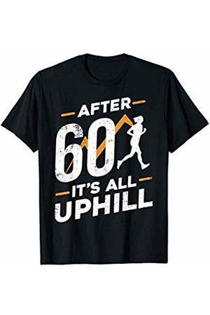 sloth running team shirt After 60 it's all up hill funny running t-shirt T-Shirt